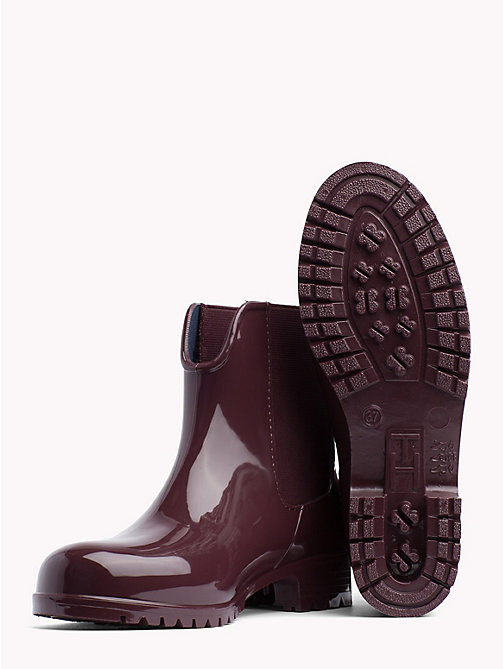 TOMMY HILFIGER Signature Tape Buckle Short Rain Boots - DECADENT CHOCOLATE - TOMMY HILFIGER Wellies - detail image 1