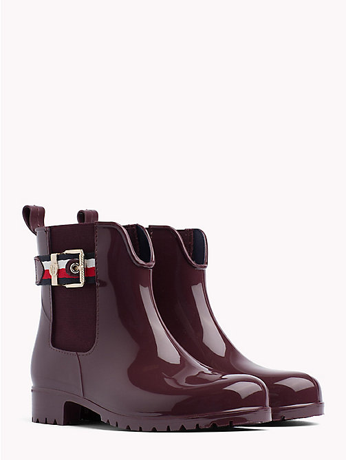 TOMMY HILFIGER Signature Tape Buckle Short Rain Boots - DECADENT CHOCOLATE - TOMMY HILFIGER Wellies - main image