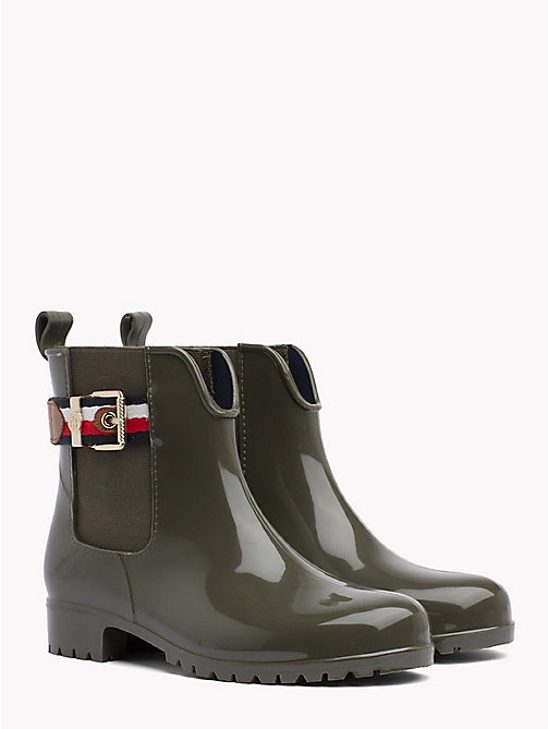 TOMMY HILFIGER Signature Tape Buckle Short Rain Boots - MILITARY - TOMMY HILFIGER Wellies - main image