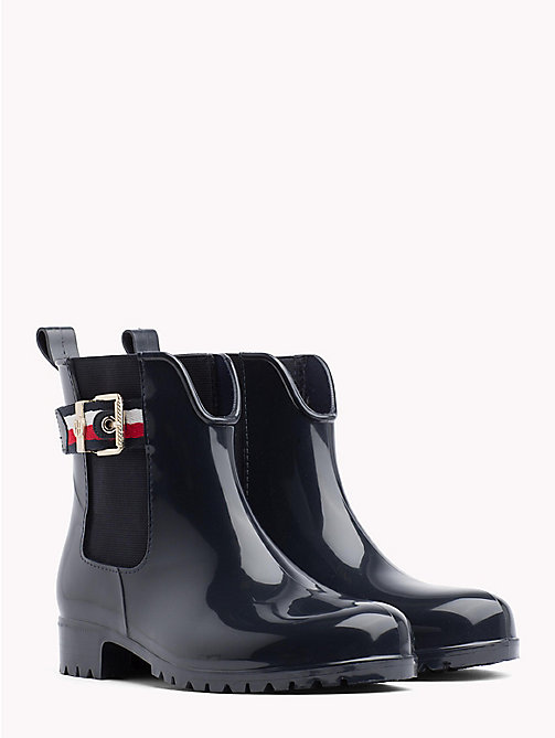 TOMMY HILFIGER Signature Tape Buckle Short Rain Boots - MIDNIGHT - TOMMY HILFIGER Wellies - main image