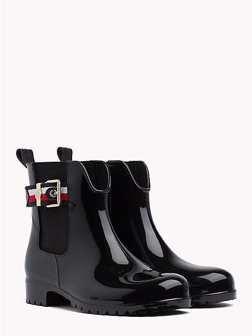 TOMMY HILFIGER Signature Tape Buckle Short Rain Boots - BLACK - TOMMY HILFIGER Best Sellers - main image