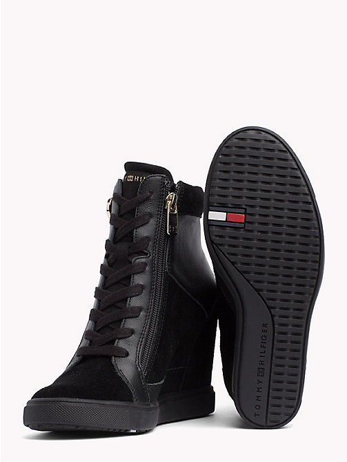 TOMMY HILFIGER Chain Wedge Ankle Trainers - BLACK - TOMMY HILFIGER Trainers - detail image 1