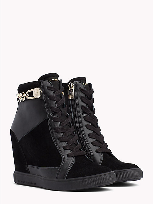 TOMMY HILFIGER Chain Wedge Ankle Trainers - BLACK - TOMMY HILFIGER Trainers - main image