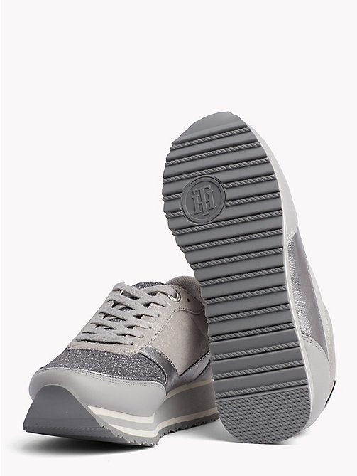 TOMMY HILFIGER Metallic Retro Trainers - DIAMOND GREY - TOMMY HILFIGER Trainers - detail image 1