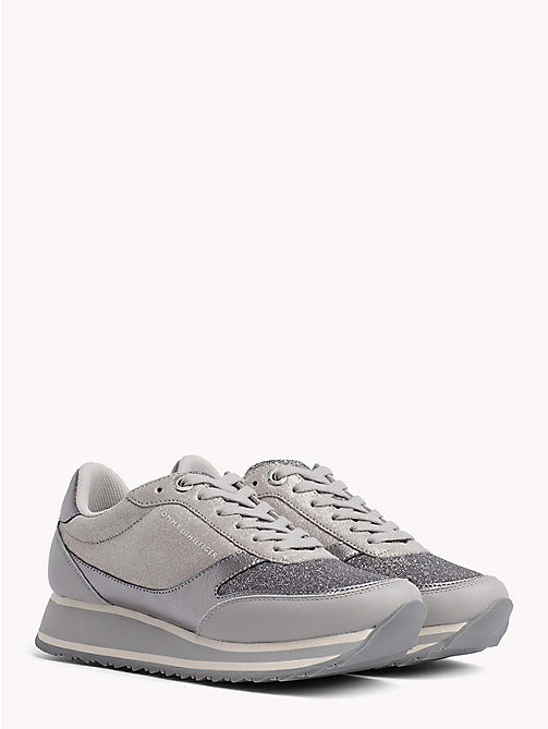 TOMMY HILFIGER Metallic Retro Trainers - DIAMOND GREY - TOMMY HILFIGER Trainers - main image