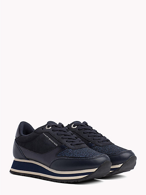 TOMMY HILFIGER Metallic Retro Trainers - MIDNIGHT - TOMMY HILFIGER Best Sellers - main image