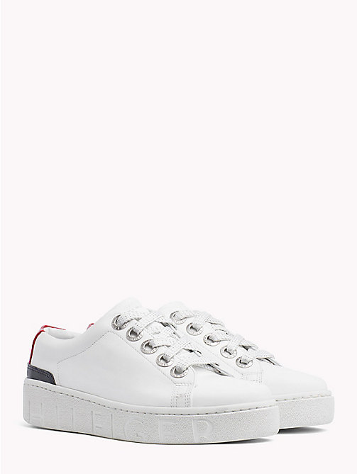 TOMMY HILFIGER Chunky Sole Leather Trainers - RWB - TOMMY HILFIGER Signature stripes - main image