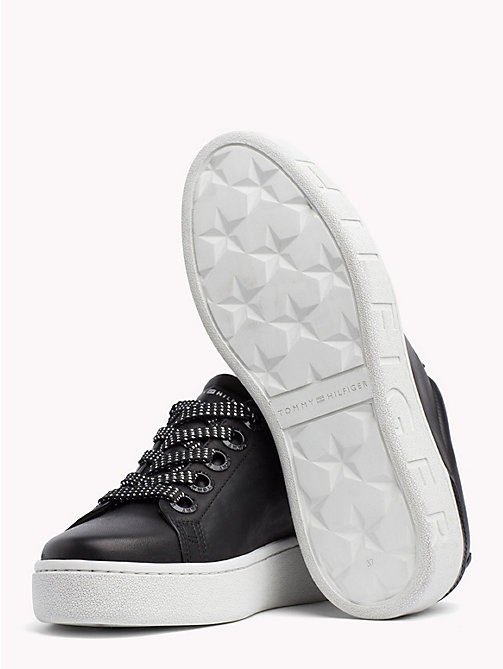 TOMMY HILFIGER Chunky Sole Leather Trainers - BLACK - TOMMY HILFIGER Trainers - detail image 1