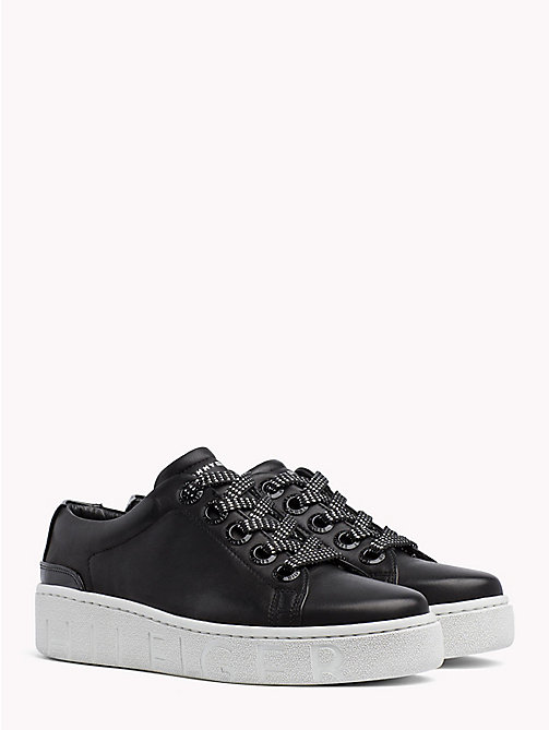 TOMMY HILFIGER Chunky Sole Leather Trainers - BLACK - TOMMY HILFIGER Trainers - main image