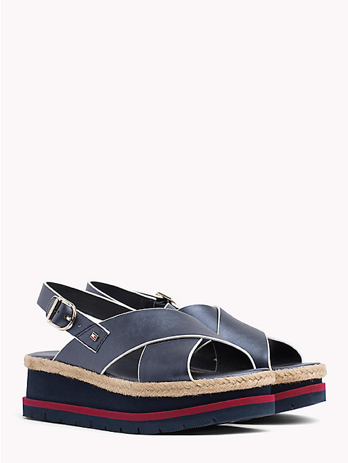 TOMMY HILFIGER Flatform Criss Cross Sandals - MIDNIGHT - TOMMY HILFIGER Best Sellers - main image