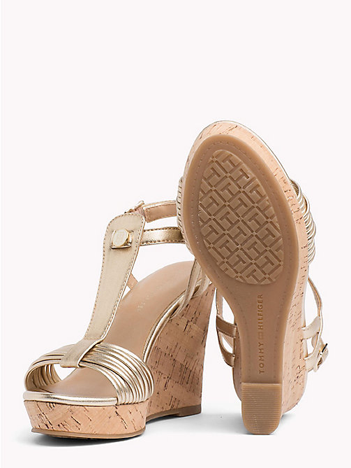 TOMMY HILFIGER T-Bar Cork Wedge Sandals - LIGHT GOLD - TOMMY HILFIGER Wedges - detail image 1