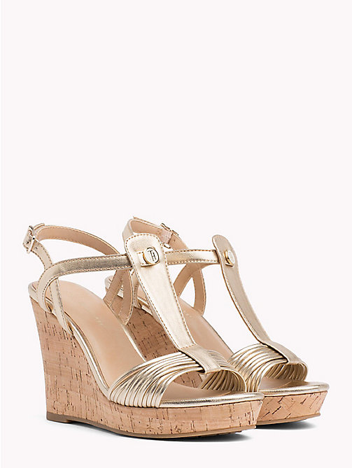 TOMMY HILFIGER T-Bar Cork Wedge Sandals - LIGHT GOLD - TOMMY HILFIGER NEW IN - main image