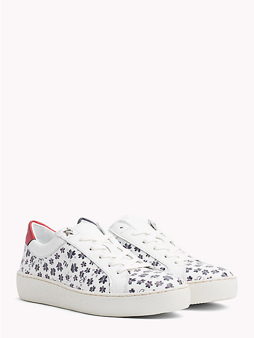TOMMY HILFIGER Leather Floral Print Trainers - WHITE - TOMMY HILFIGER Shoes - main image