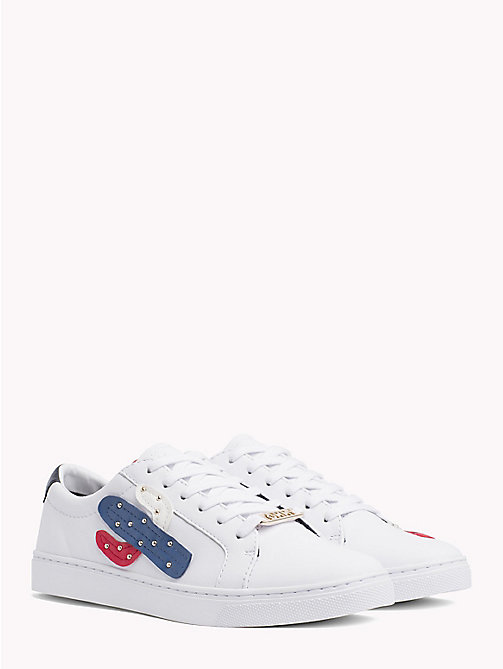 TOMMY HILFIGER Embellished Leather Trainers - WHITE - TOMMY HILFIGER VACATION FOR HER - main image