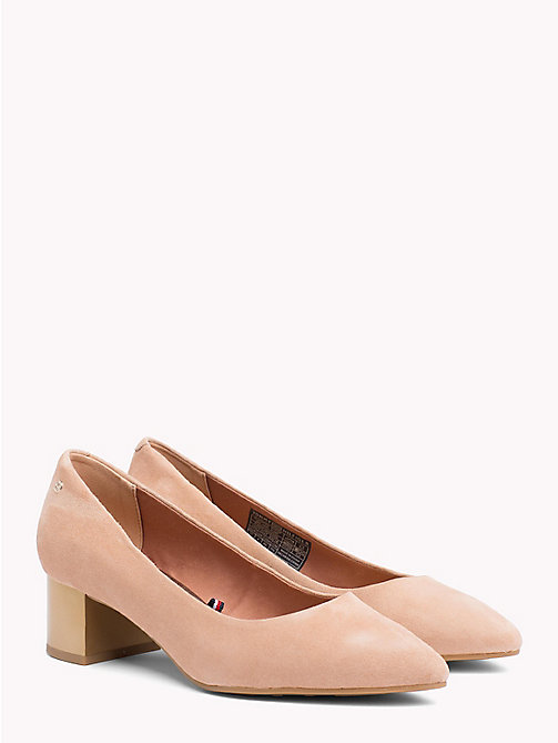 TOMMY HILFIGER Suede Mid Heel Pumps - SILKY NUDE - TOMMY HILFIGER Pumps - main image