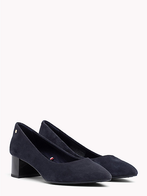 TOMMY HILFIGER Suede Mid Heel Pumps - TOMMY NAVY - TOMMY HILFIGER NEW IN - main image