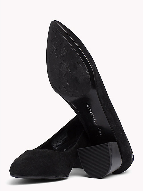 TOMMY HILFIGER Suede Mid Heel Pumps - BLACK - TOMMY HILFIGER NEW IN - detail image 1