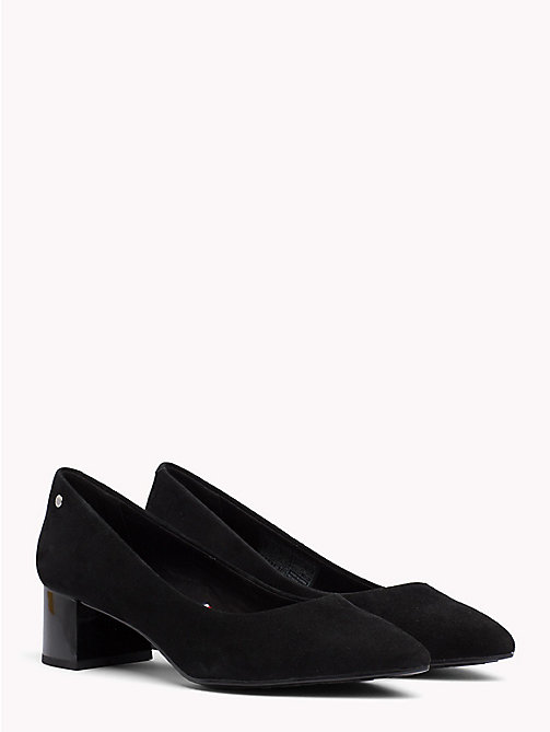 TOMMY HILFIGER Suede Mid Heel Pumps - BLACK - TOMMY HILFIGER NEW IN - main image
