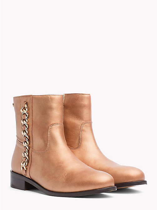 TOMMY HILFIGER Chain Detail Metallic Leather Boots - SUMMER COGNAC - TOMMY HILFIGER Ankle Boots - main image