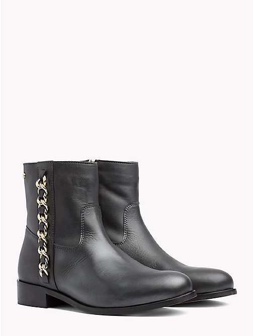 TOMMY HILFIGER Chain Detail Metallic Leather Boots - BLACK - TOMMY HILFIGER NEW IN - main image