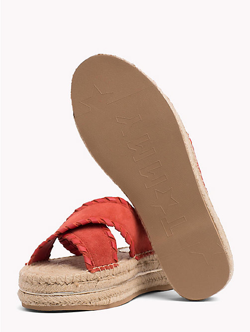TOMMY HILFIGER Suede Espadrille Mule Sandals - RED CLAY - TOMMY HILFIGER Shoes - detail image 1