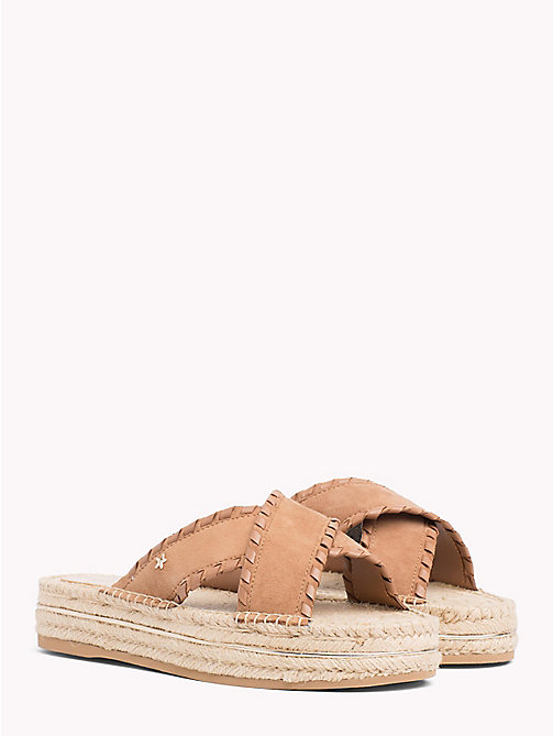 TOMMY HILFIGER Suede Espadrille Mule Sandals - SUMMER COGNAC - TOMMY HILFIGER VACATION FOR HER - main image