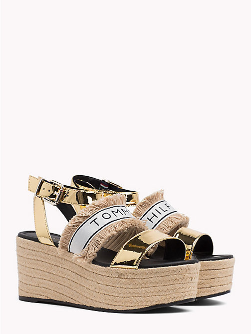 TOMMY HILFIGER Mirror Metallic Flatform Wedge Sandals - LIGHT GOLD - TOMMY HILFIGER VACATION FOR HER - main image