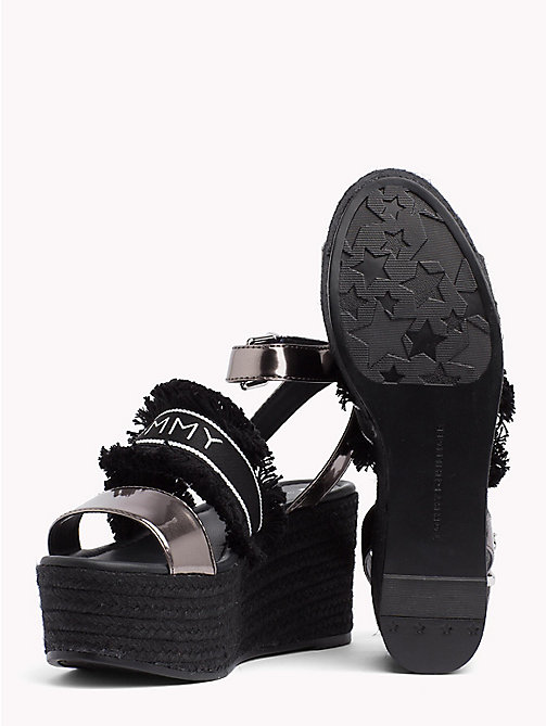 TOMMY HILFIGER Mirror Metallic Flatform Wedge Sandals - BLACK - TOMMY HILFIGER VACATION FOR HER - detail image 1