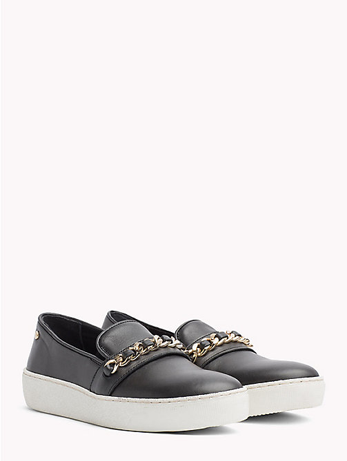 TOMMY HILFIGER Metallic Chain Detail Slip-On Trainers - BLACK - TOMMY HILFIGER Shoes - main image