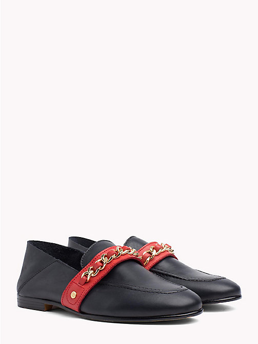 TOMMY HILFIGER Chain Detail Leather Loafers - TOMMY NAVY - TOMMY HILFIGER NEW IN - main image
