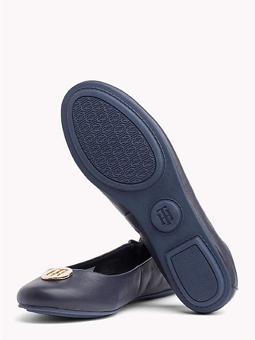 TOMMY HILFIGER Elasticated Leather Ballerina Flats - TOMMY NAVY - TOMMY HILFIGER NEW IN - detail image 1