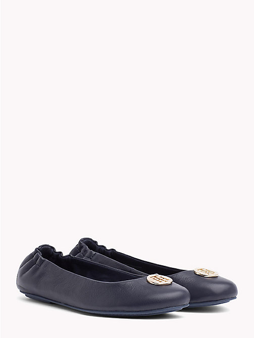 TOMMY HILFIGER Elasticated Leather Ballerina Flats - TOMMY NAVY - TOMMY HILFIGER Shoes - main image