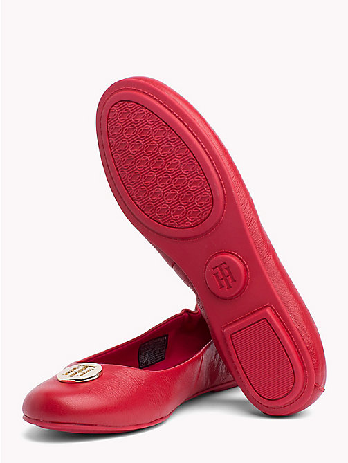 TOMMY HILFIGER Elasticated Leather Ballerina Flats - TOMMY RED - TOMMY HILFIGER NEW IN - detail image 1