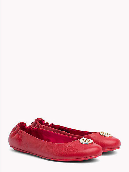 TOMMY HILFIGER Elasticated Leather Ballerina Flats - TOMMY RED - TOMMY HILFIGER Shoes - main image