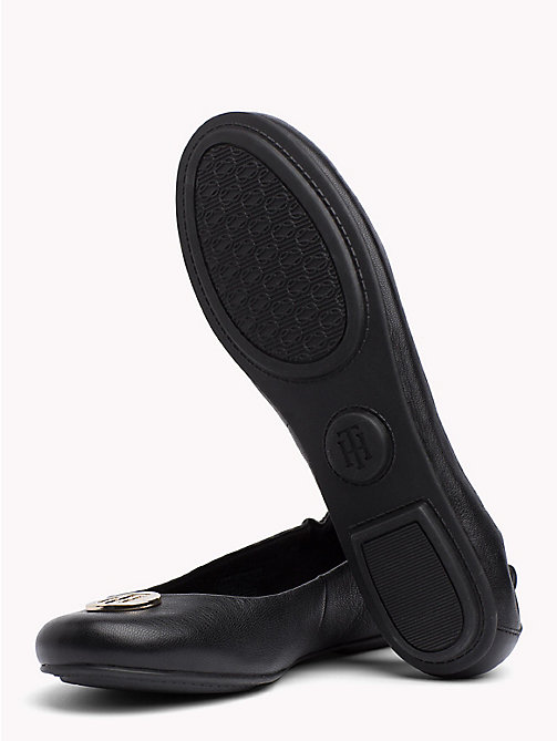 TOMMY HILFIGER Elasticated Leather Ballerina Flats - BLACK - TOMMY HILFIGER NEW IN - detail image 1