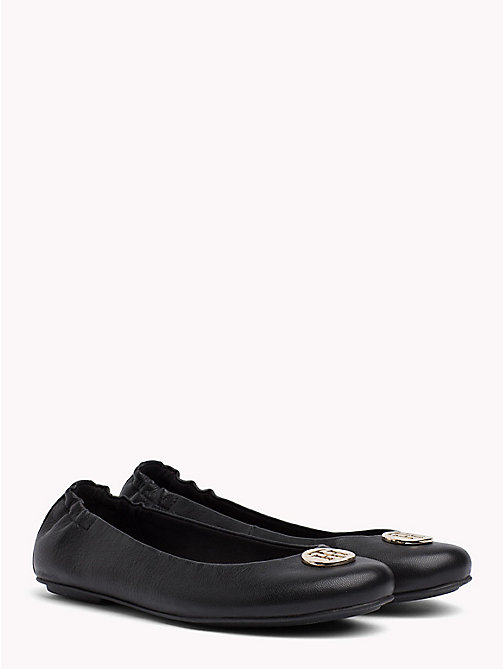 TOMMY HILFIGER Elasticated Leather Ballerina Flats - BLACK - TOMMY HILFIGER NEW IN - main image