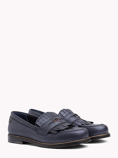 TOMMY HILFIGER Metallic Leather Penny Loafer - TOMMY NAVY - TOMMY HILFIGER Shoes - main image