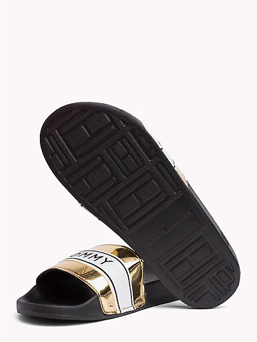 TOMMY HILFIGER Mirror Metallic Beach Sliders - LIGHT GOLD - TOMMY HILFIGER VACATION FOR HER - detail image 1