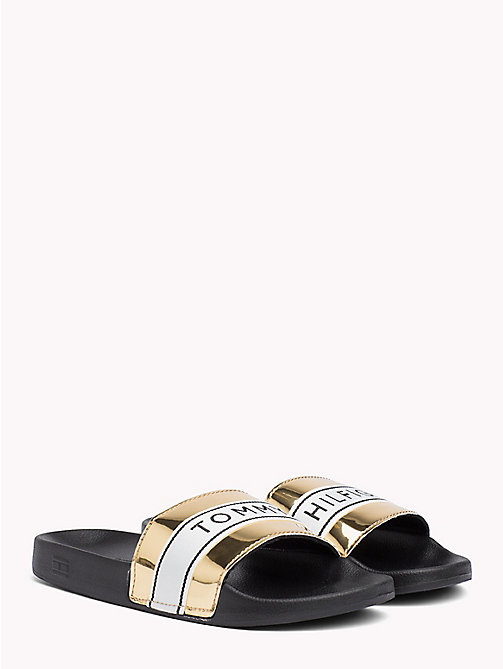 TOMMY HILFIGER Mirror Metallic Beach Sliders - LIGHT GOLD - TOMMY HILFIGER VACATION FOR HER - main image
