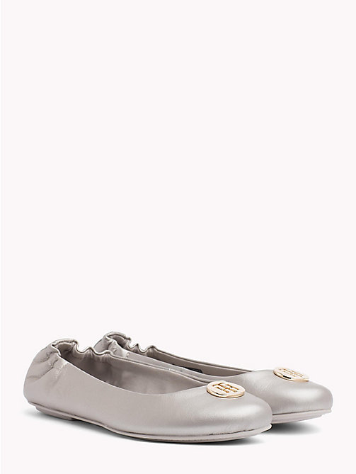 TOMMY HILFIGER Elasticated Metallic Leather Ballerina Flats - MOONBEAM - TOMMY HILFIGER Ballerina Shoes - main image