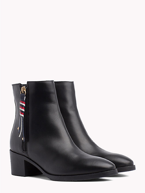TOMMY HILFIGER CORPORATE TASSEL MID HEEL BOOT - BLACK - TOMMY HILFIGER Ankle Boots - main image