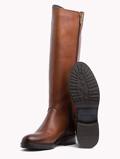 TOMMY HILFIGER Leather Riding Boots - COGNAC - TOMMY HILFIGER Knee-High Boots - detail image 1