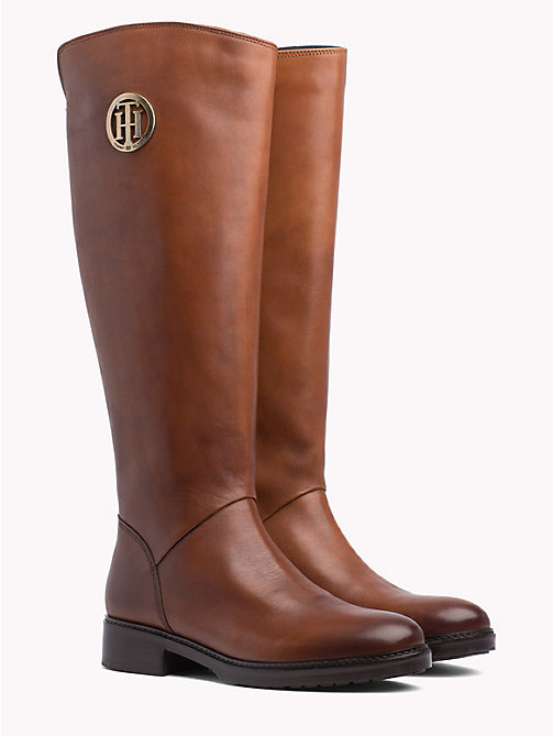 TOMMY HILFIGER Leather Riding Boots - COGNAC - TOMMY HILFIGER Shoes - main image