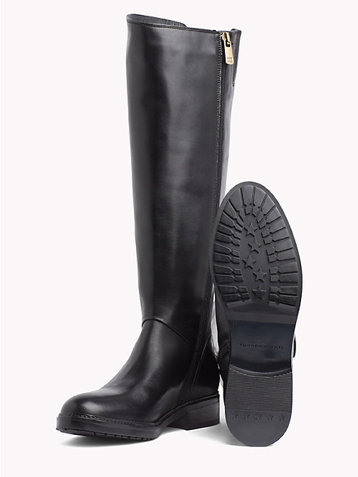 TOMMY HILFIGER Leather Riding Boots - BLACK - TOMMY HILFIGER Knee-High Boots - detail image 1