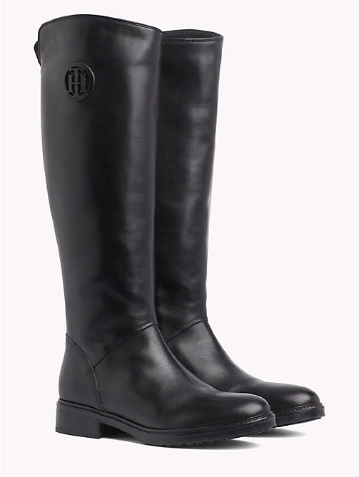 TOMMY HILFIGER Leather Riding Boots - BLACK - TOMMY HILFIGER Shoes - main image