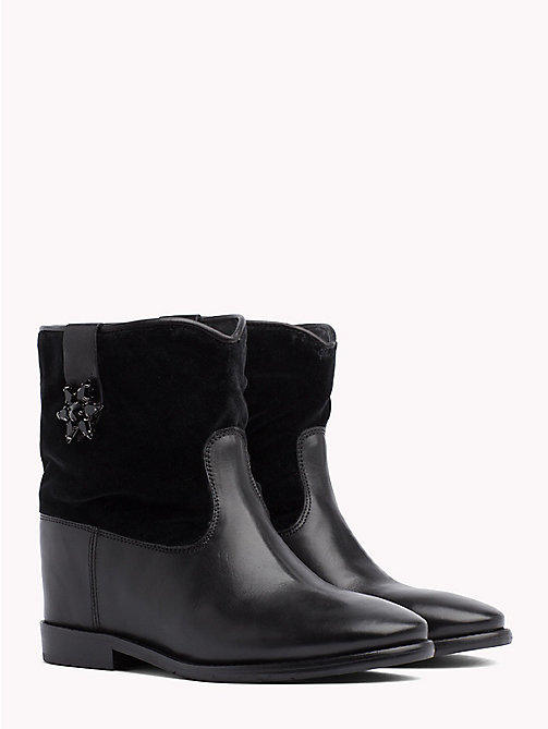 TOMMY HILFIGER Star Buckle Wedge Boots - BLACK - TOMMY HILFIGER Shoes - main image