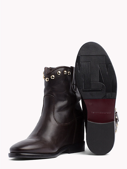 TOMMY HILFIGER Studded Leather Ankle Booties - COFFEE BEAN - TOMMY HILFIGER Shoes - detail image 1
