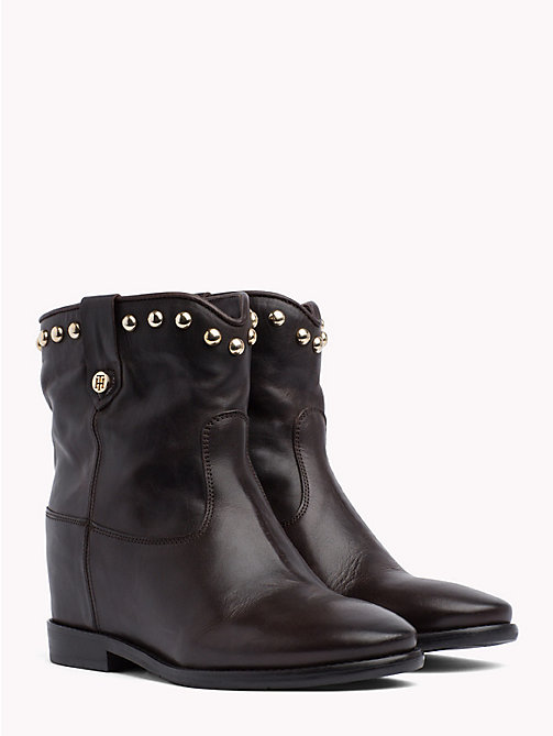 TOMMY HILFIGER Studded Leather Ankle Booties - COFFEEBEAN - TOMMY HILFIGER Shoes - main image