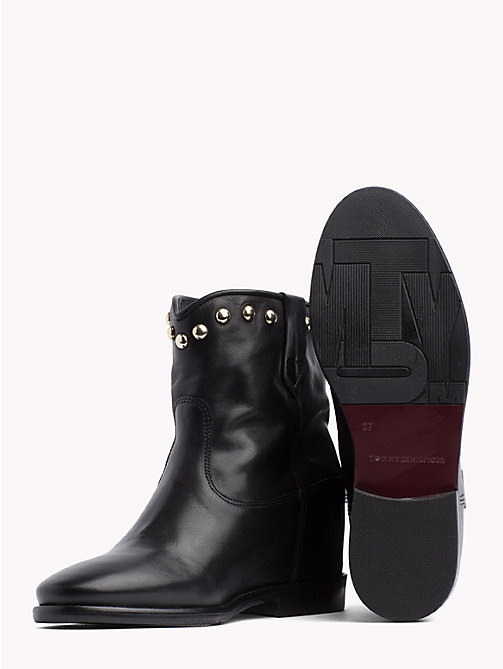 TOMMY HILFIGER Studded Leather Ankle Booties - BLACK - TOMMY HILFIGER NEW IN - detail image 1