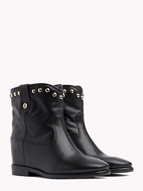 TOMMY HILFIGER Studded Leather Ankle Booties - BLACK - TOMMY HILFIGER NEW IN - main image